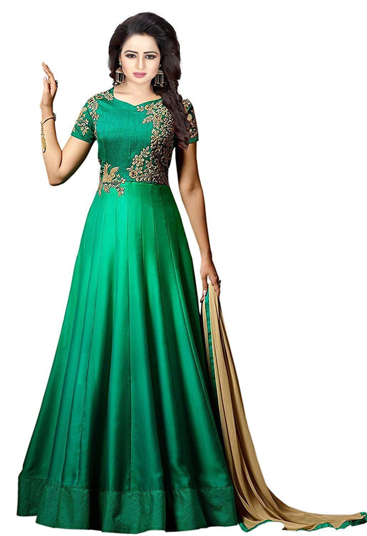0438c293c78 MRS WOMEN Taffeta Silk Embroidered Semi-Stitched Anarkali Gown (Green)  (Free Size