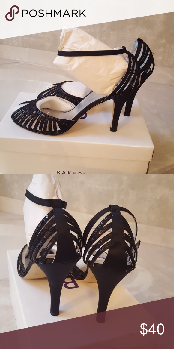 5309f2a144c0 Womens black sequence peep toe 3.5 inch heels. Brooke-s womens black peep  toe sequence heels. Brooks-S Bakers shoe store Shoes Heels