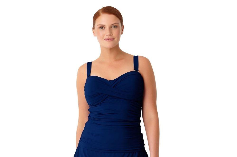 ca96243172e38 Anne Cole Women s Plus Size Live In Color Twist Front Bandeaukini Swim Top  24W