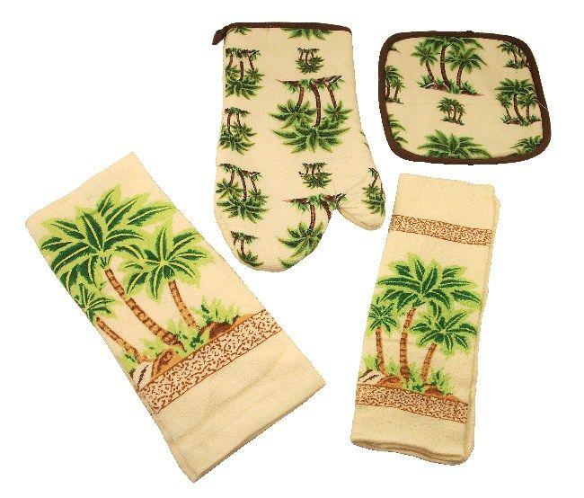 Palm Tree Kitchen Theme | 4pc Kitchen Towel Set PALM TREE ...