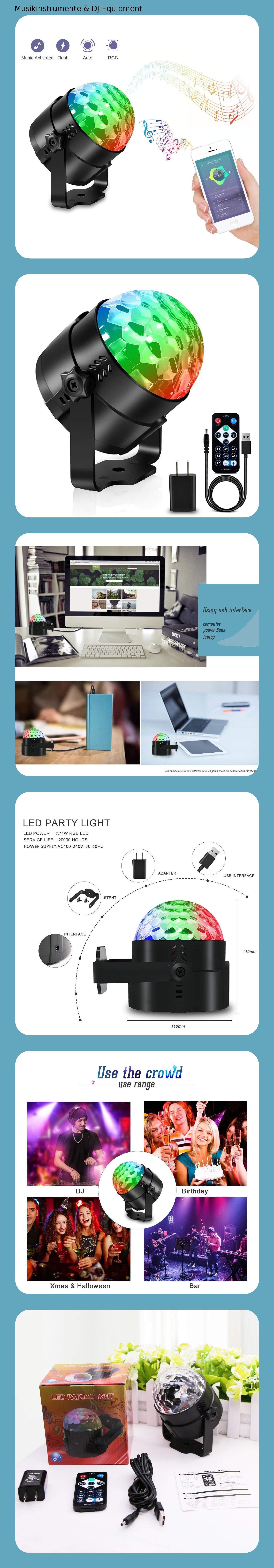 Discokugel LED, Karrong USB Kinder Discolicht Partylicht ...