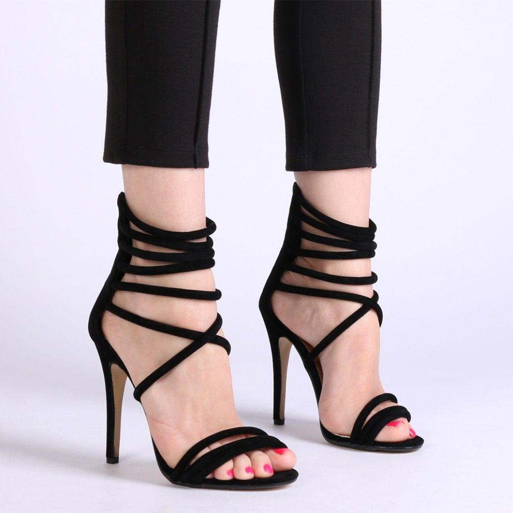 Ellie Strappy Heels In Black Faux Suede