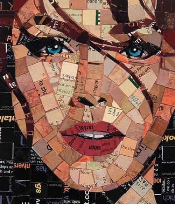 Como Fazer Mosaico De Papel Retrato Mosaico Mosaico Fotos Mosaicos