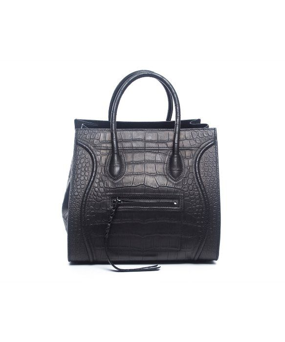 Celine   Pre-Owned Celine Black Croc Embossed Leather Small Phantom Tote    style   342905301 e92ddf7aa8717