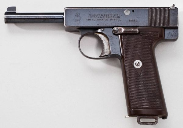Webley Scott automatic pistol, cal 38 High Velocity (.38ACP), model of 1910, version with manual safety.