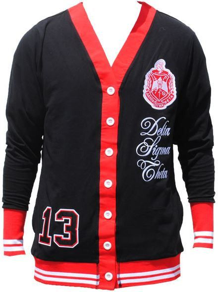 Delta Sigma Theta Cardigan Sweater Black Delta Sigma Theta For