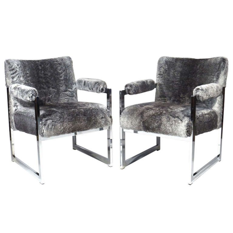 Milo Baughman Faux Chinchilla Chairs Orions Objects Orions