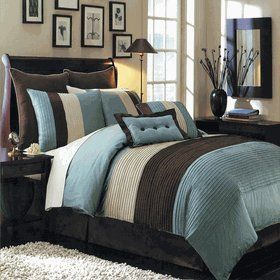 12 PIECES BEDDING SET LUXURY HUDSON COMFORTER SET QUEEN SIZE BLUE IVORY AND CHOCOLATE ITEM# S by Blue Hudson Luxury 12-Piece Bedding Set Item# S. $144.99. The Blue Hudson 12-piece comforter set by Royal Tradition offers a modern, tailored look that creates an aura of calmness in any bedroom. * nature-inspired colors in shades of Blue, Brown and Off White. all the pieces you need for a flawlessly decorated bed. bold color blocking for strong design impact. 100% Poly...