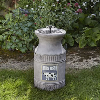 Solar Powered Water Feature  Milk Churn  7999  Garden4Less UK Shopchurn