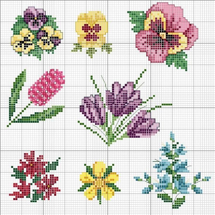 Flores | azucenas | Punto de cruz, Punto de cruz flores, Punto