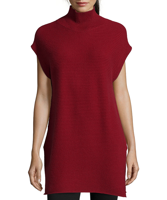 def98bd264610 Deep Red Ribbed Cashmere Sleeveless Turtleneck Sweater