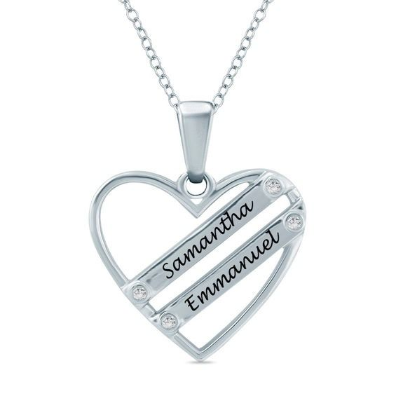 2567037fe Couple's Diamond Accent Double Ribbon Heart Pendant in Sterling Silver (2  Names)