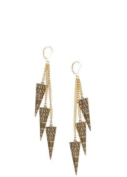 Embossed pyramid earrings
