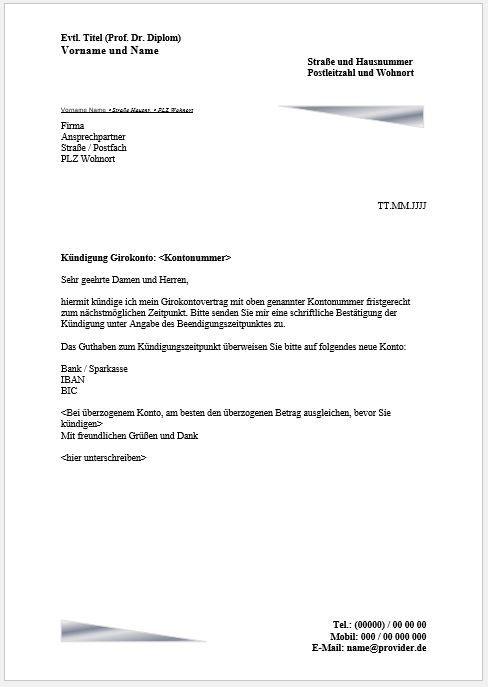 Kündigungsschreiben Girokonto Kündigen Vorlage Muster Kriterien
