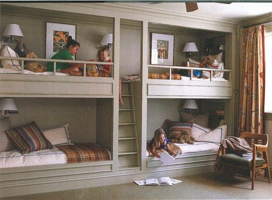 Double Built In Bunk Beds For Kids Room Ad Bunk Beds Built In