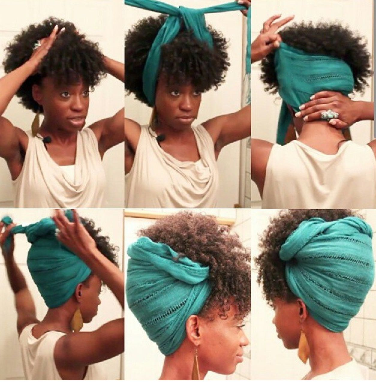 Lazy Hair Day Updo With Scarf Hair Styles Natural Hair Styles Scarf Hairstyles
