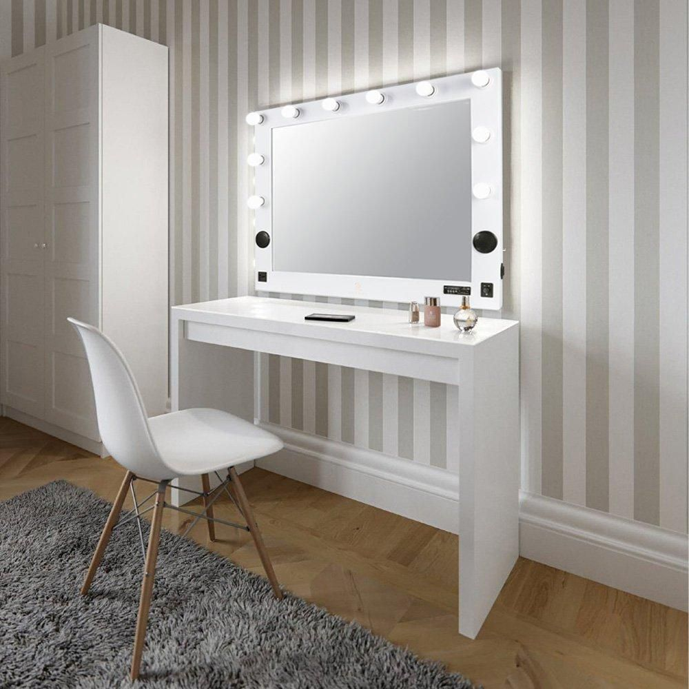 Makeup vanity mirror light dressing table chair set, with