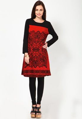 Kaxiaa Full Sleeve Printed Orange Tunic - Buy Women Tunics Online | KA915WA35QEUINDFAS