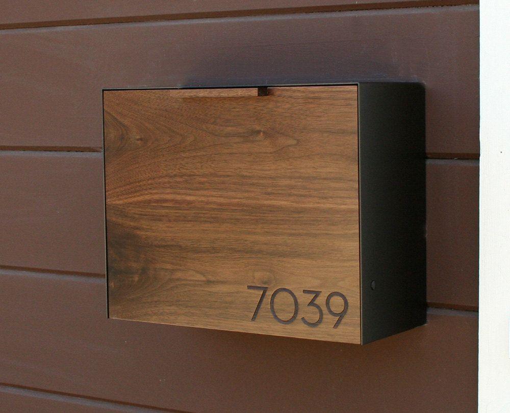 Mailbox stainless steel locking mail box letterbox postal box modern - Modern Mailbox Large Walnut And Stainless Steel Mailbox Wall Mounted Mailbox