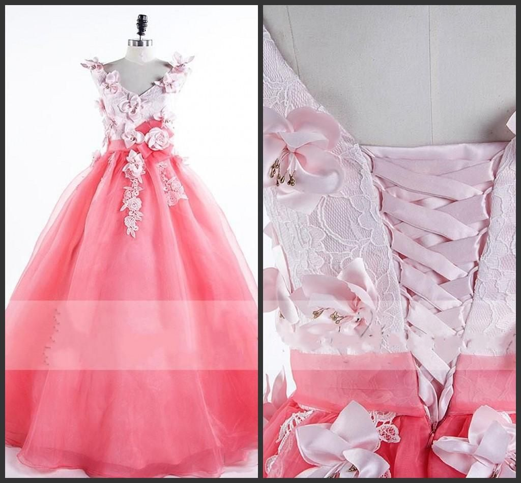 Ball Gown Dresses Lace Up Hand Made Flowers Sweet 16 Girls V Neck ...