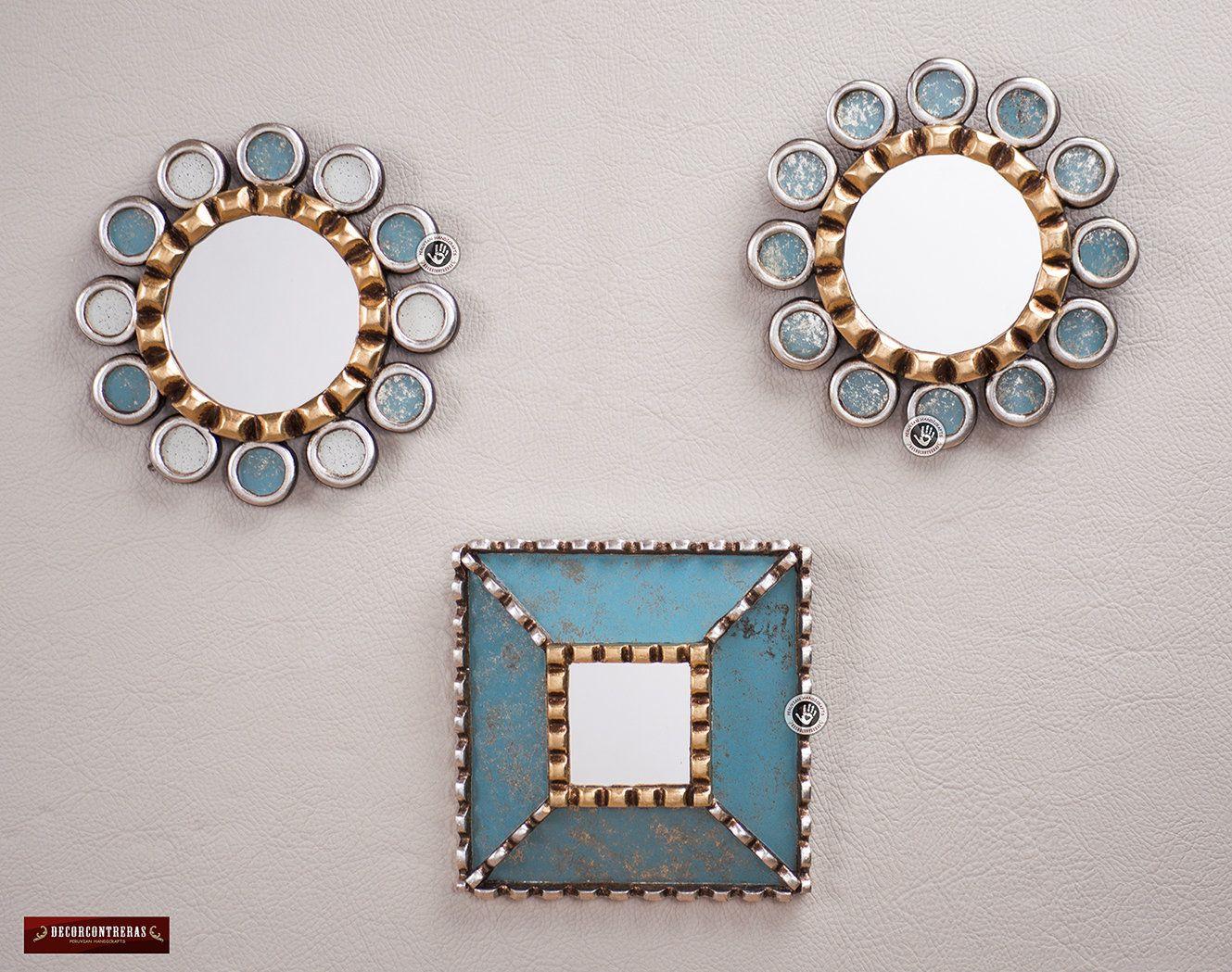 Sunburst Round Square Mirror Set 3 Turquoise Sky Decorative