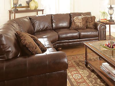 Traditional Dark Brown Bonded Leather Sectional Couch Living Room