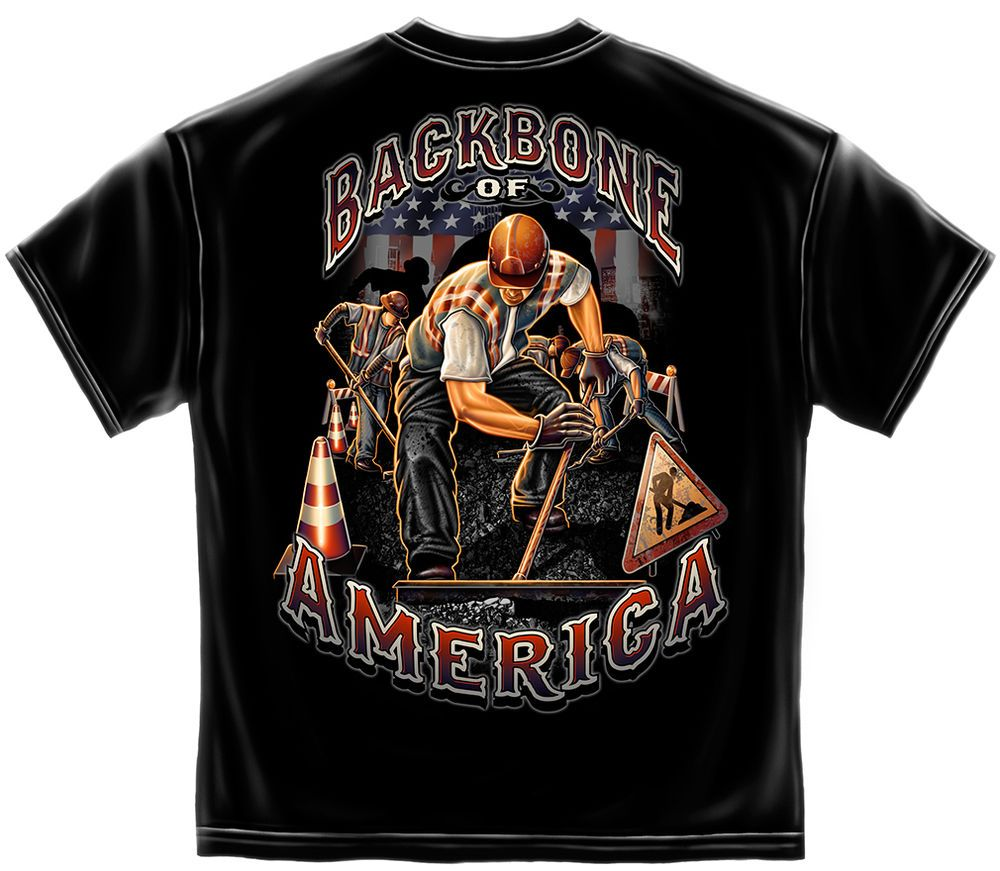 854314869 Backbone of America T Shirt Construction Worker USA Union S M L XL XXL XXXL  New #ErazorBits #GraphicTee