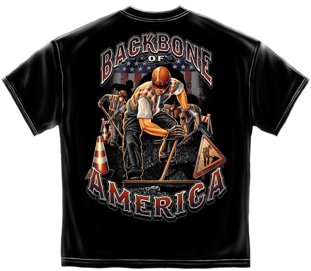 Backbone of America T Shirt Construction Worker USA Union S M L XL XXL XXXL  New  ErazorBits  GraphicTee f7203f437