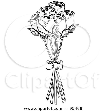 royalty free clipart illustration of a bouquet of black and white roses