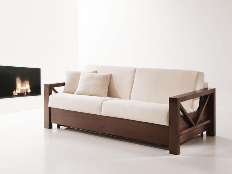 Divano letto in legno, trasformabile, per salotti Sofa