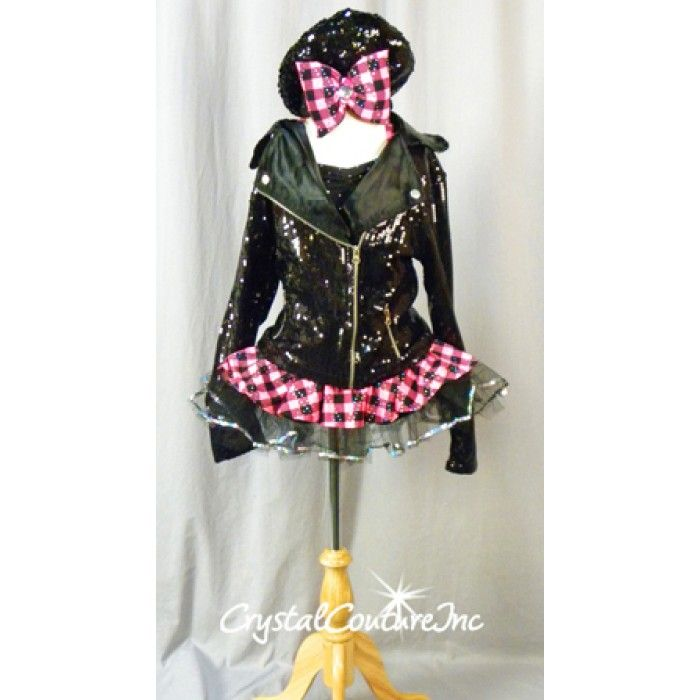 Black & Pink Checked Print Dress with Black Sequined Jacket - Size YM