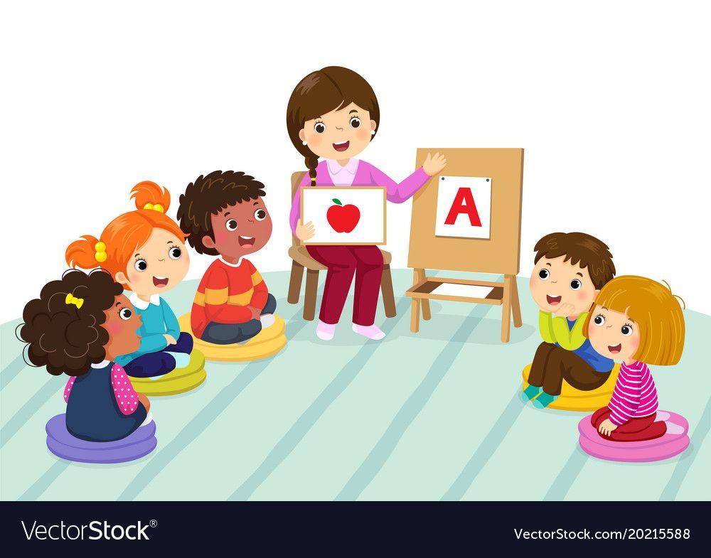 Preschool Kids And Teacher Sitting On The Floor Vector Image On Vectorstock Preschool Kids Classroom Images Preschool