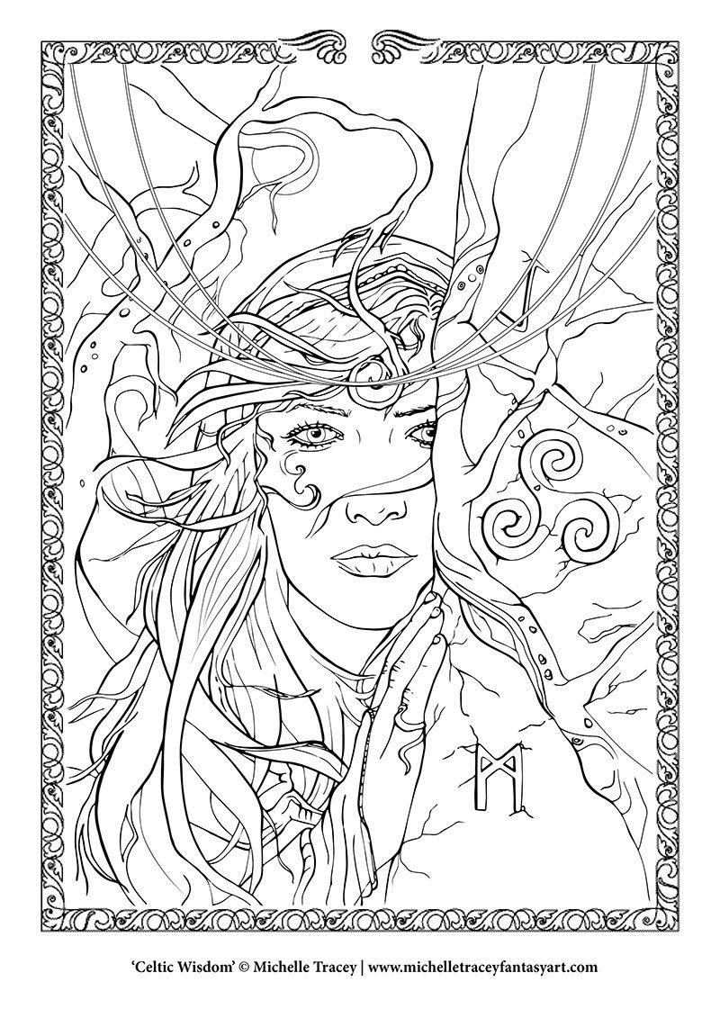 fantasy coloring pages u0027celtic wisdom u0027 by michelletraceyart art