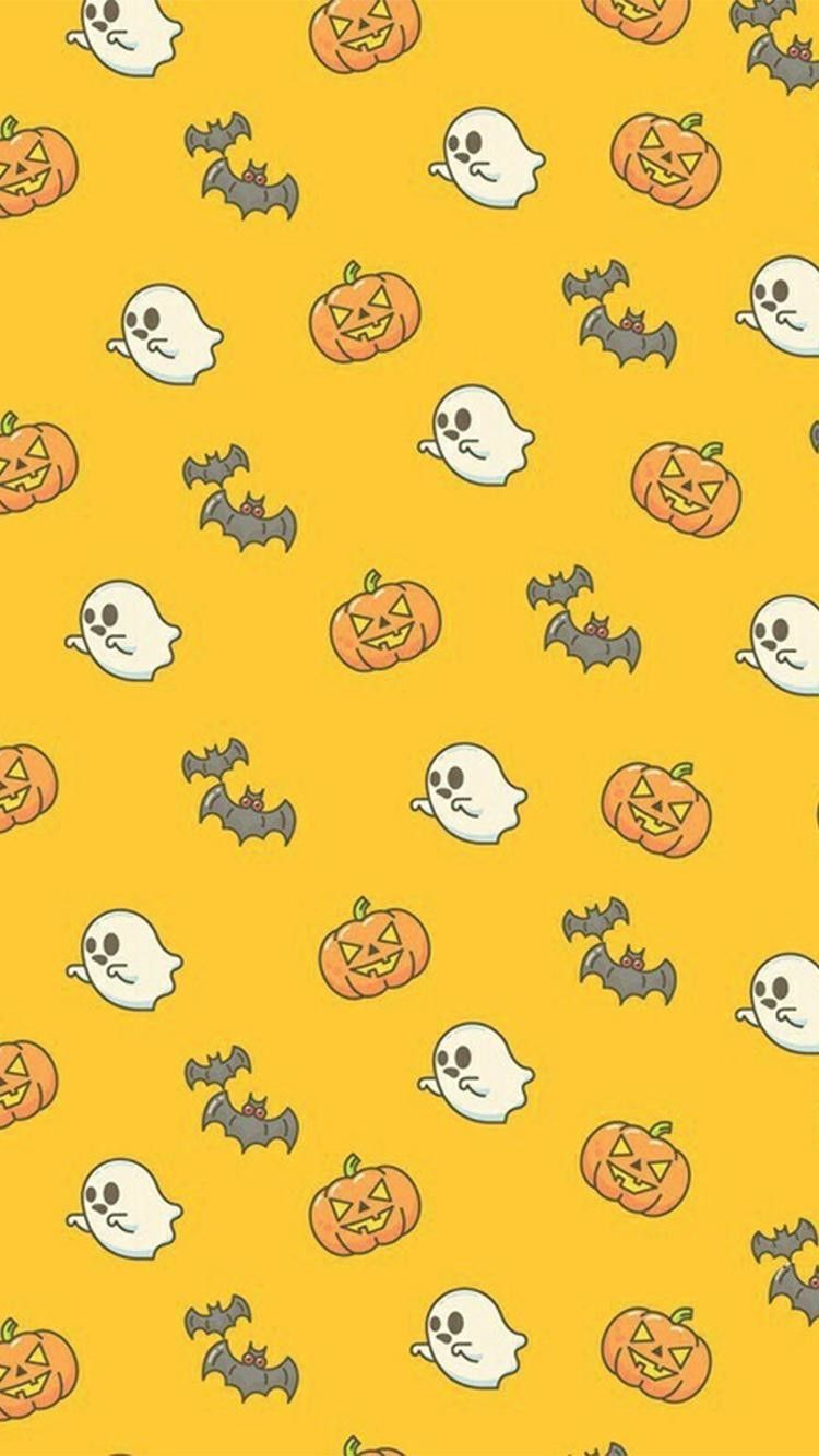 Ghosts, bats and pumpkins phone Halloween wallpaper #Halloween #HalloweenWallpaper #octoberwallpaper