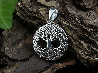 925 Sterling Silber, Kleiner Lebensbaum, Yggdrasil, Kelten, Ketten-Anhänger