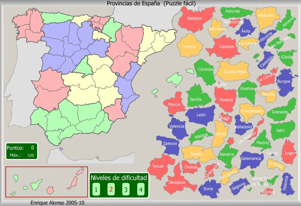 Mapa Flash Provincias Espana.Provincias De Espana Puzzle Facil Enrique Alonso Mapa De Espana Mapa Interactivo Geografia Para Ninos