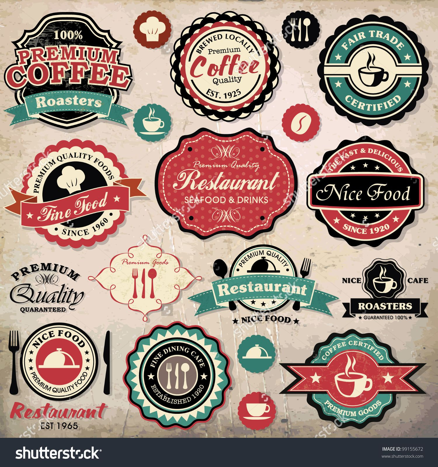 Collection of vintage retro grunge coffee and restaurant labels collection of vintage retro grunge coffee and restaurant labels badges and icons buycottarizona Image collections