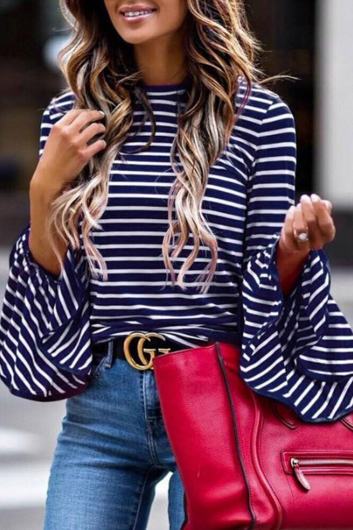 cb4db8999b5e Navy/White Statement Stripe Top Bell Sleeve Blouse, Shirt Sleeves, Bell  Sleeve Top
