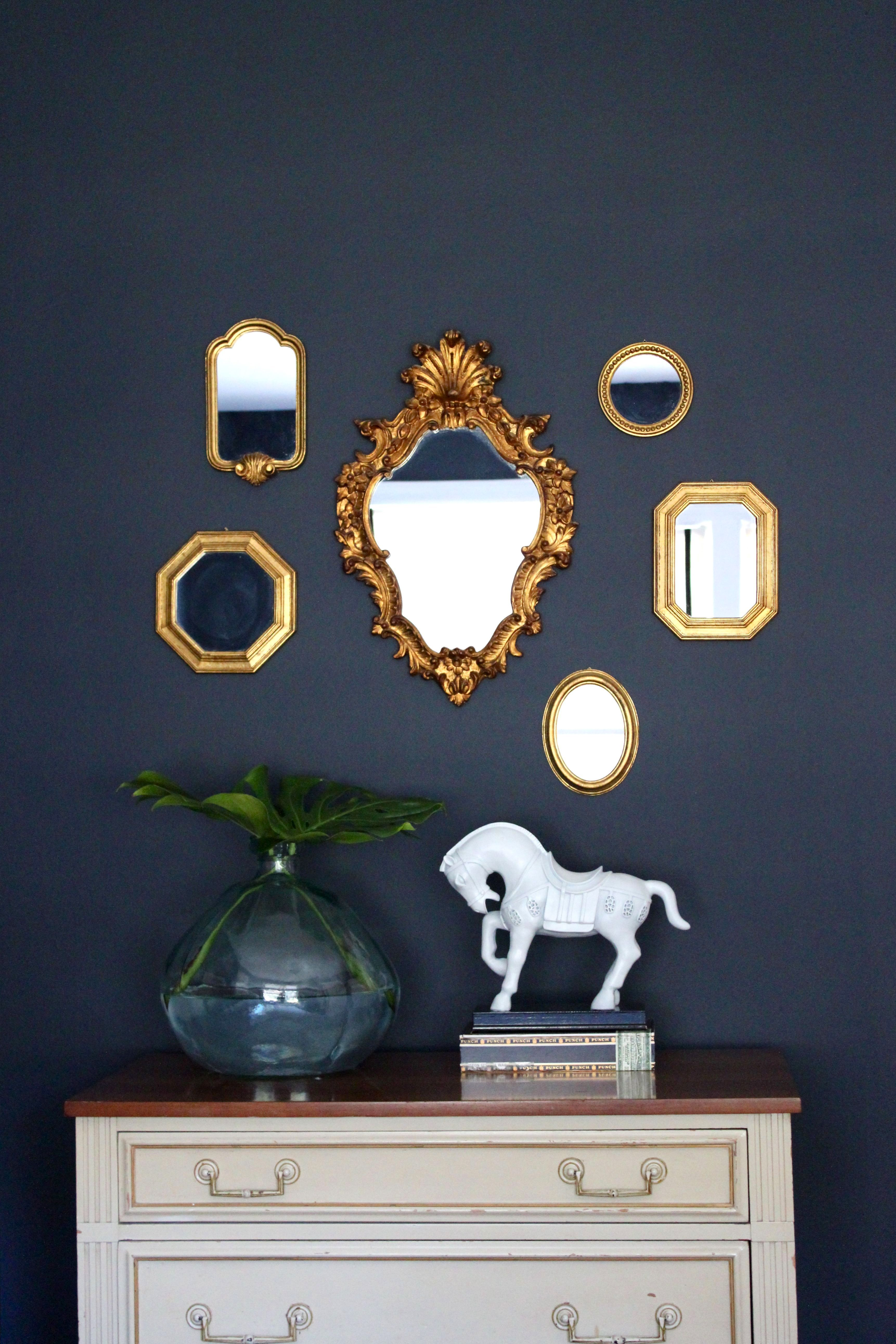 This Mirror Collection Idea Is Done So Often But Not Always Well As Fine Example The Wall Colour Just Takes Whole Look To Next Level