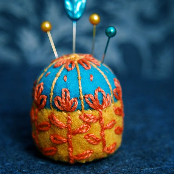 FREE SHIP Scandinavian flower bottlecap pincushion made to order