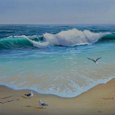 ocean wave with seagulls by pj cook lovely.
