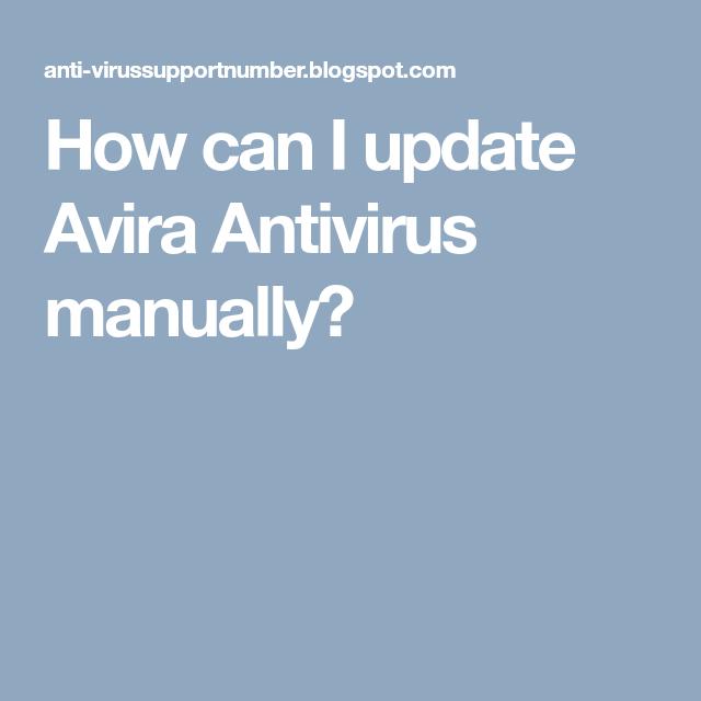 How can I update Avira Antivirus manually?   Antivirus