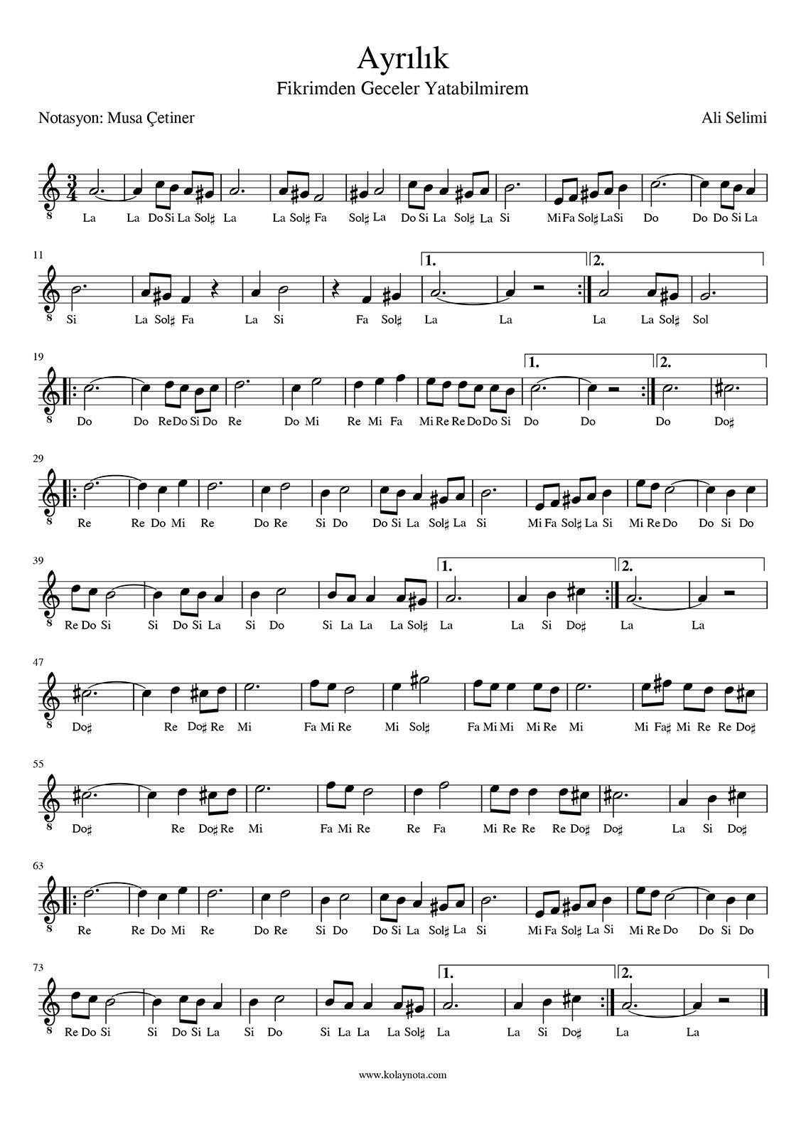 Ayrilik Fikrimden Geceler Kolay Nota Kolaynota Flut Muzik Notalari Notalara Dokulmus Muzik