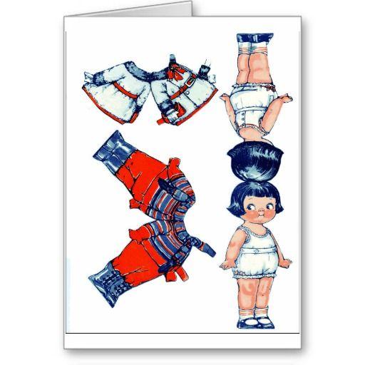 Vintage Paper Doll Greeting Card #paperdolls #dollydingle #vintage #oldtime #clothes