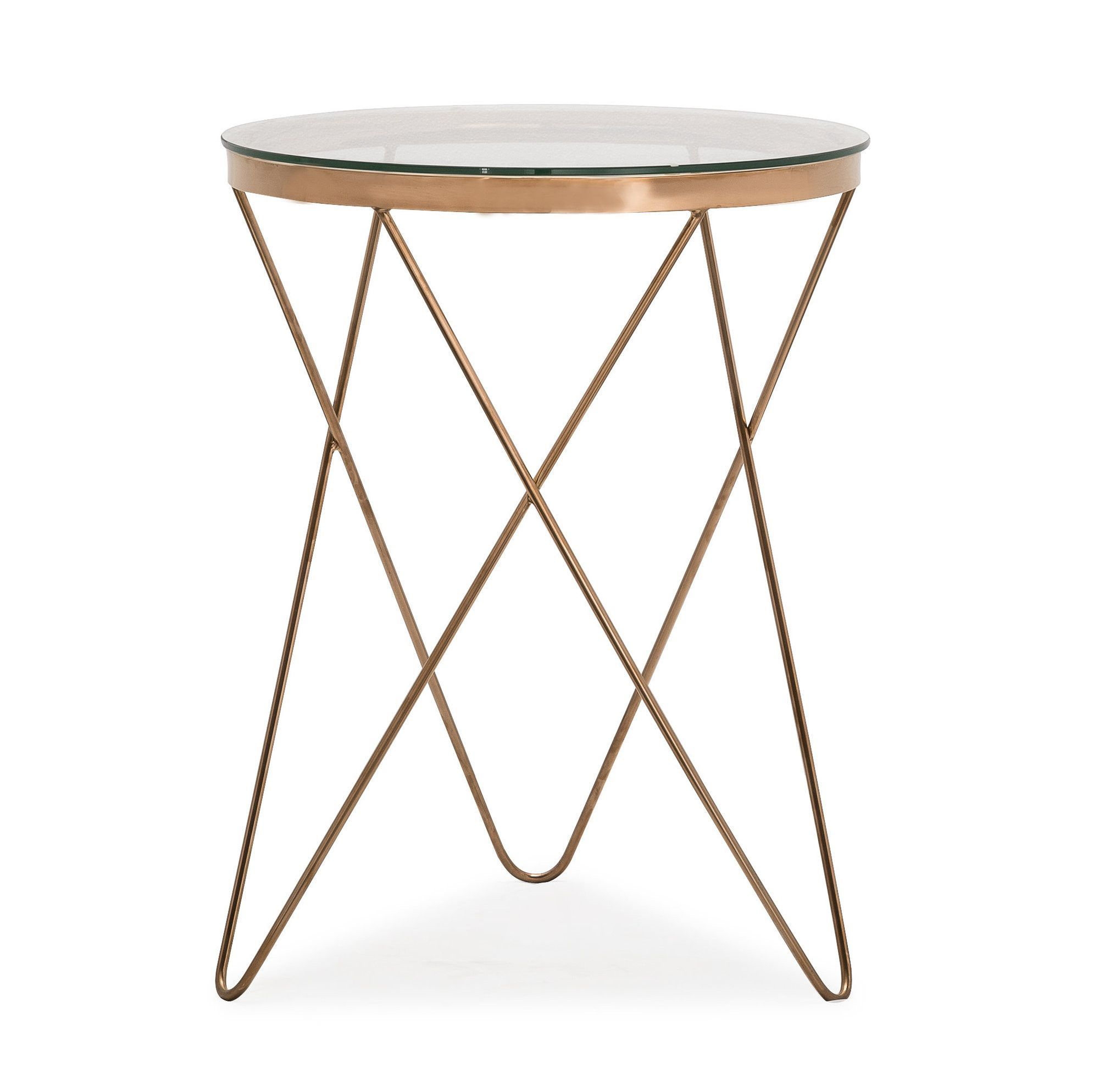 Marquee Table Rose Gold Accent Tempered