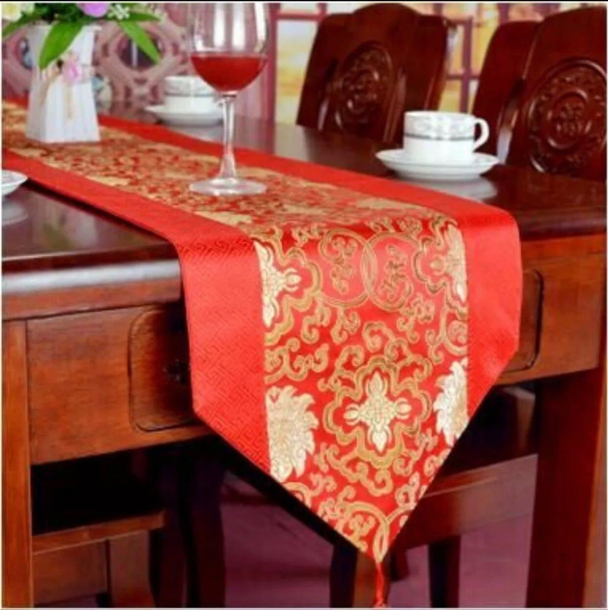 Red Gold Table Runner Holiday Decor Gold Table Runners Vintage Table Runner Floral Table Runner
