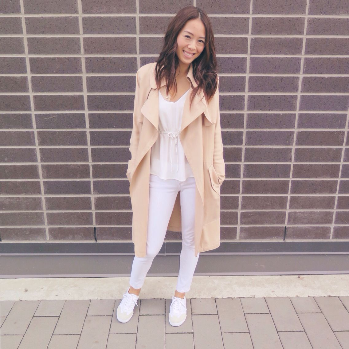 My style: Babaton Lawson drapy trench jacket and Warren camisole from Aritzia, Rag and Bone cropped skinny jeans, Veja sneakers
