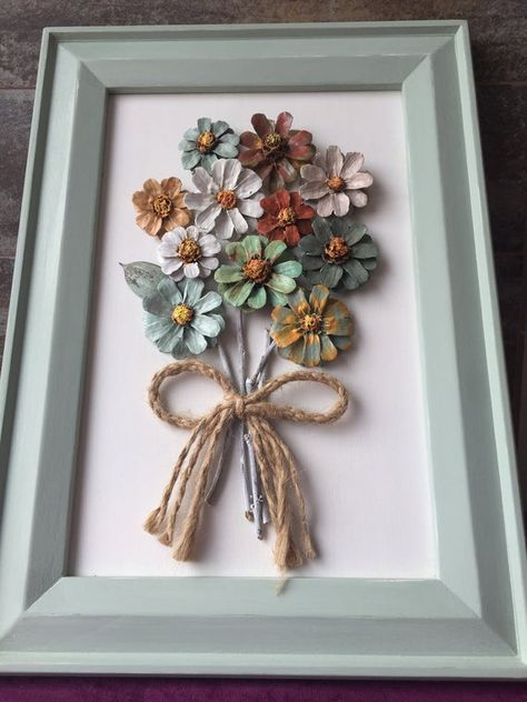 Handmade, Pinecone Wall Hanging,Bouquet Arrangement  Framed Pinecone Flowers