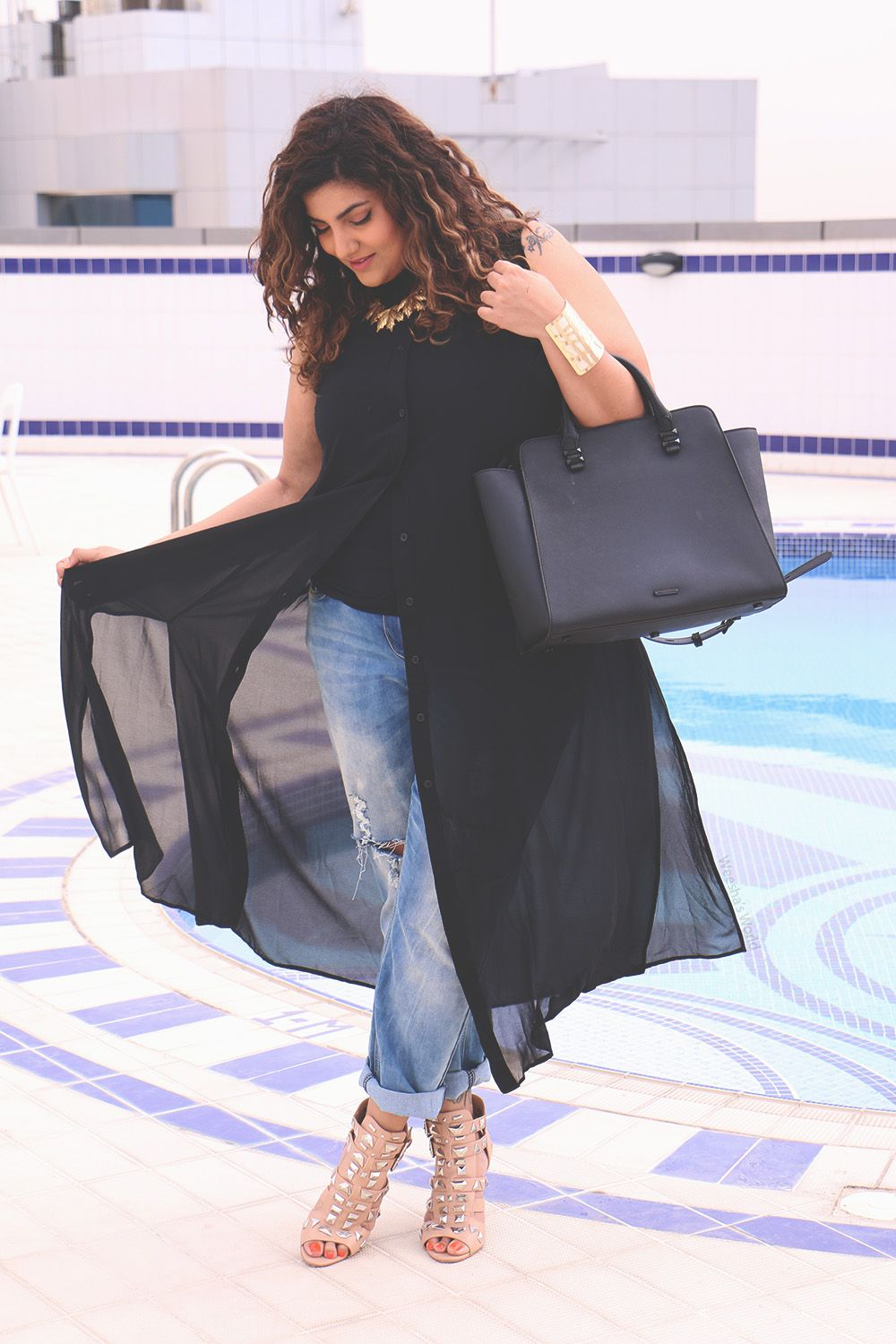 5c4d3cf6fb64 Yours Clothing Black sheer chiffon maxi shirt, DIY plus size boyfriend  jeans, River Island studded nude shoes, New Look cuff, aliExpress necklace,  ...