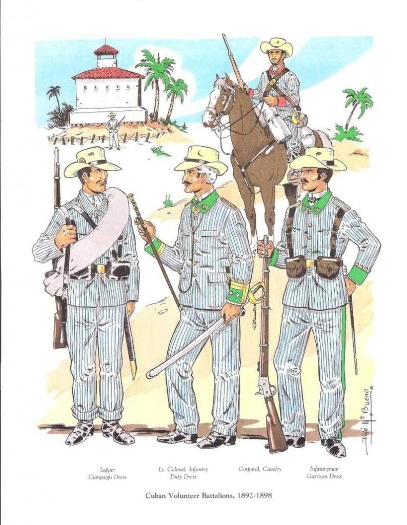 Sobre El Uniforme Rayadillo Colonial Español 1868 1898 The Spanish American War American War Army Poster